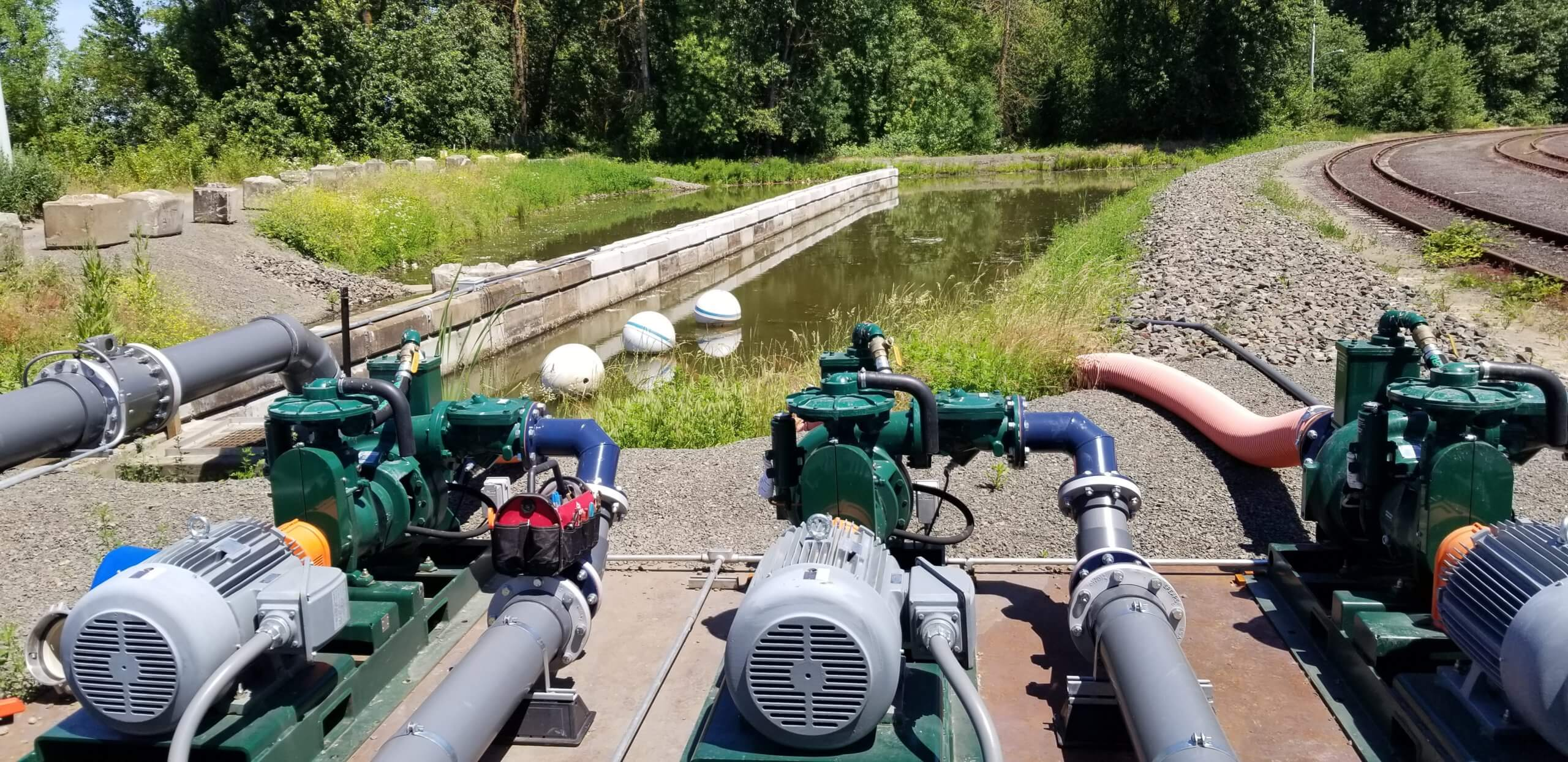 Centrifugal pumps drawing water from a pond for water treatment