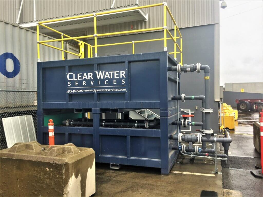 Stackable passive stormwater filtration system at a recycling facility in Seattle, WA