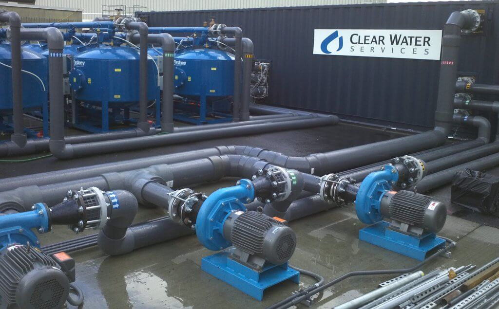 Water filtration system and pumps close-up