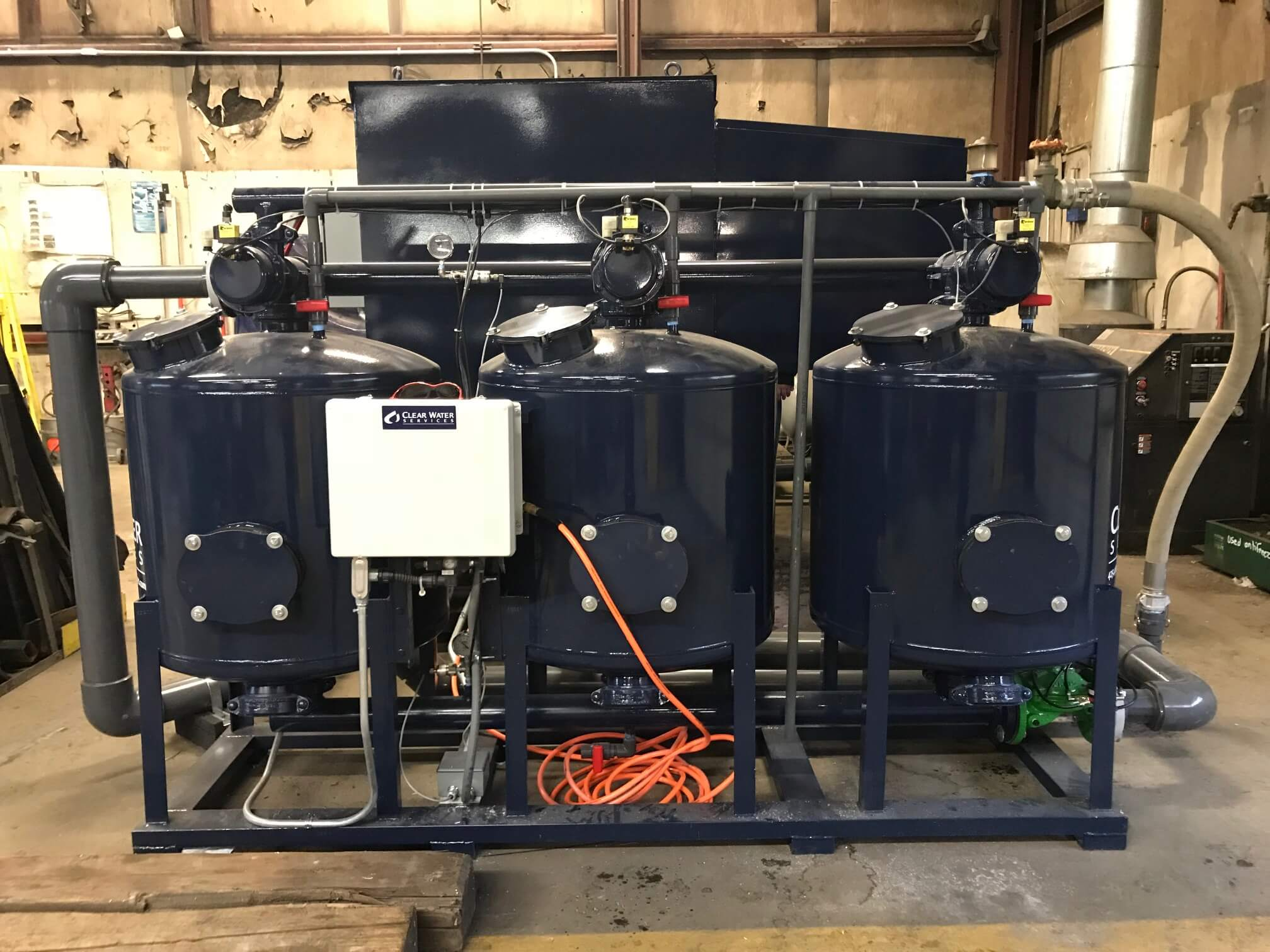 Triplex sand filters with a control box